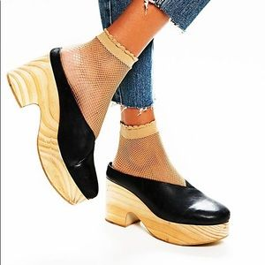 Free People Black Leather Brea Clogs